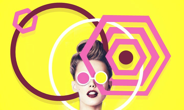 #FreeToEdit  #shapes #primaryyellow #pink #maroon  #white #yellow #girl #female #lady #glasses #hair #lips #circle  #hexagon  #spot #eyes #shadow #layered #remixedfrom #remixed