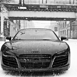 blackandwhite audi cars snow freetoedit