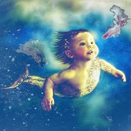freetoedit underthesea baby mermaid fattal1