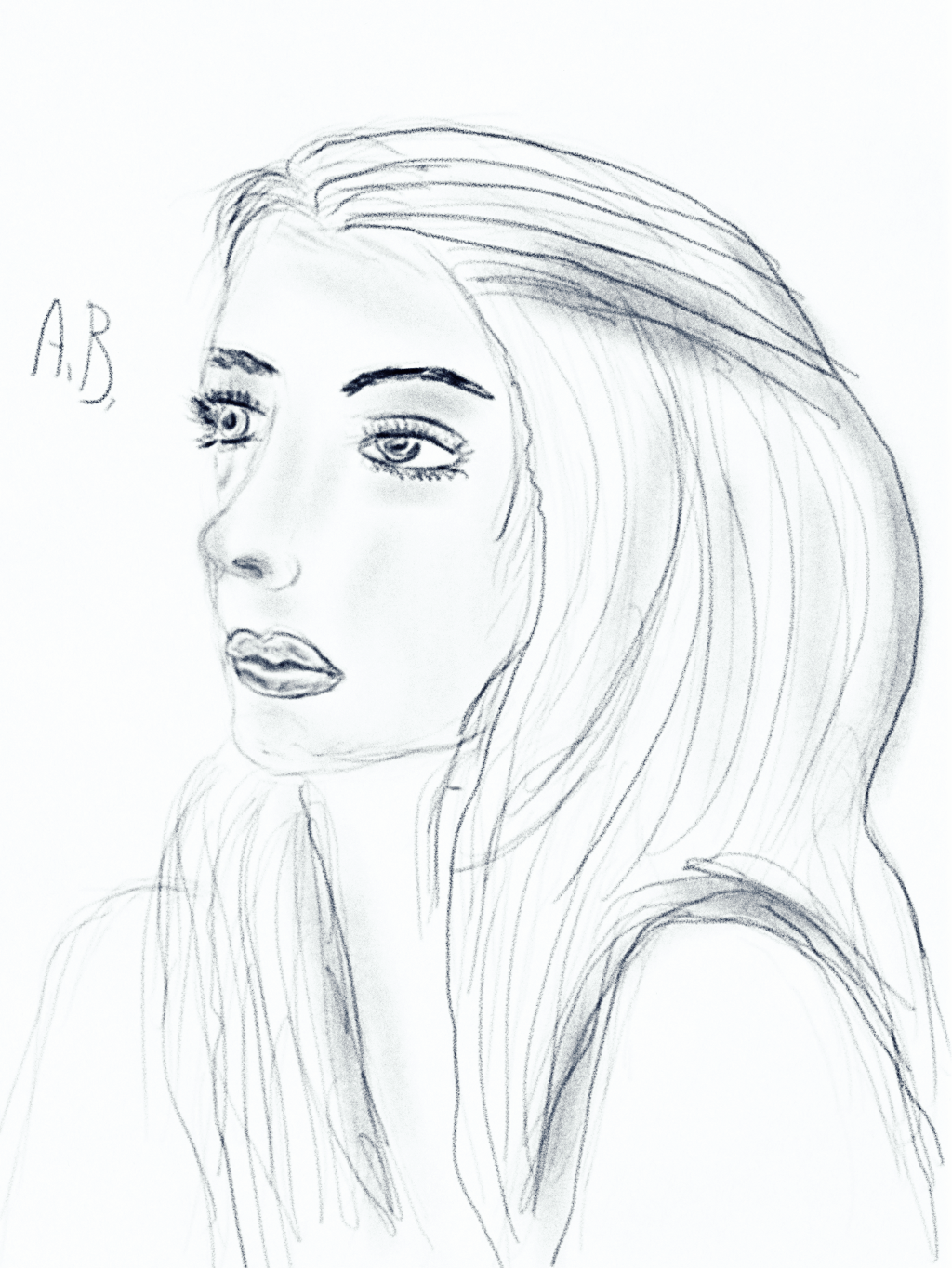my drawing digital drawing portrait of a girl profile