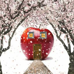 freetoedit myrmx apple house cherryblossoms